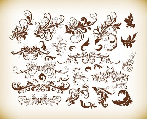 Floral Decorative Ornament Elements Vector Set