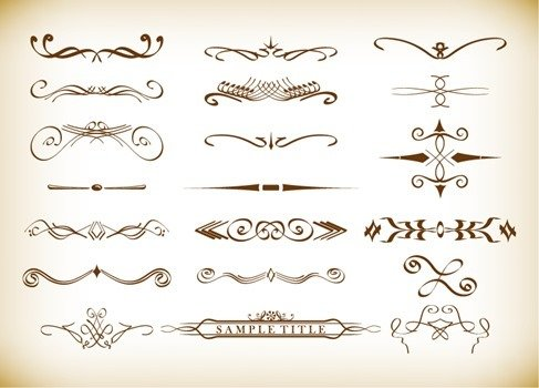 Calligraphic Decorative Elements in Vector Format