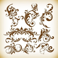 Vintage Design Floral Element Vector Graphis Set