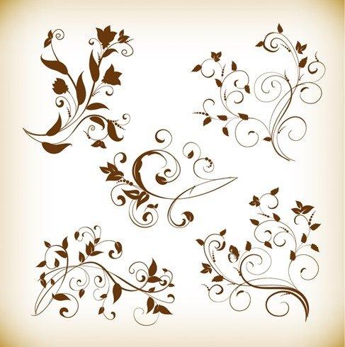 Decorative Swirl Floral Elements Vector Graphics Set