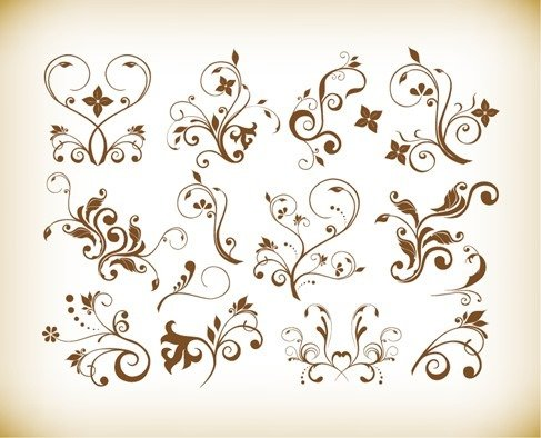 Vector Set of Decorative Floral Vintage Vector Design Elements