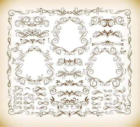 Calligraphic Design Elements Vector Illustration Set