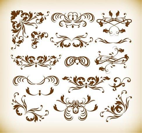 Floral Decorative Elements Vector Graphics Set
