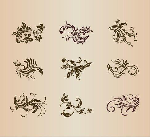 Vector Set of Vintage Floral Ornament Elements for Design
