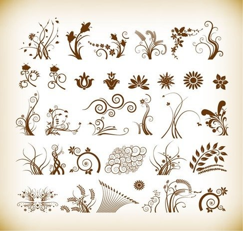Floral Patterns for design Vector Illustration Set