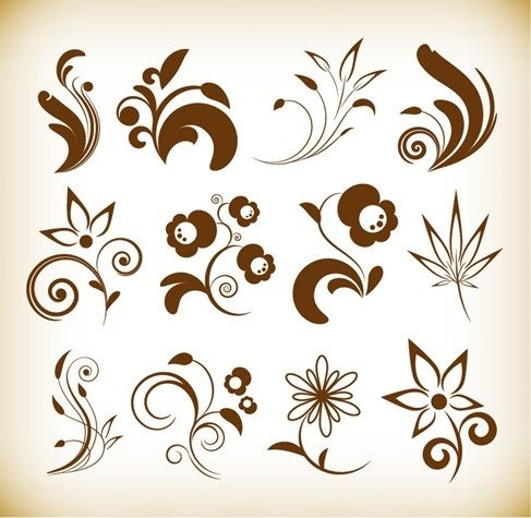 Flower Floral Design Elements Vector Set
