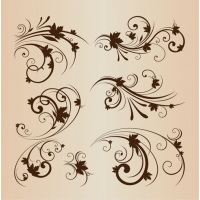 Vector Illustration Set of Swirling Decorative Floral Elements