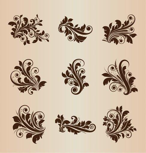 Vintage Design Floral Elements Vector Set