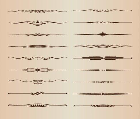 Vector Set of Ornamental Design Rule Lines