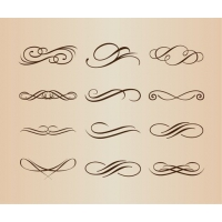 Decorative Calligraphic Elements Vector Set