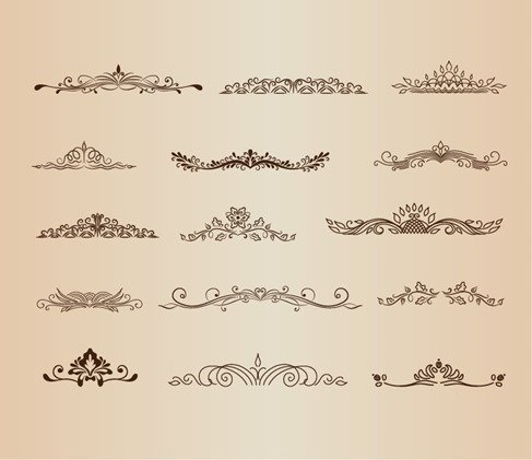 Vintage Ornaments Element Vector Graphic Set