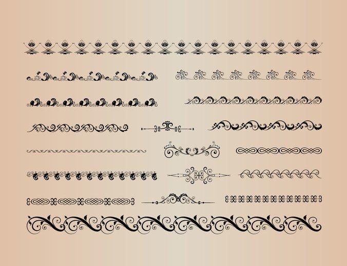 Vector Set Of Decorative Horizontal Elements For Design