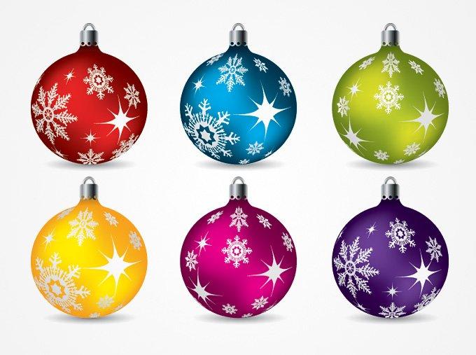 Christmas Balls Ornaments Vector Clip Art (Free)