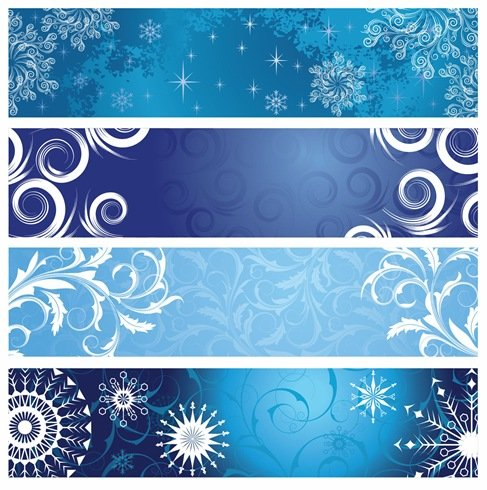 Vector Christmas Banners with Snowflakes
