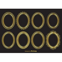 Gold Oval Vector Frames