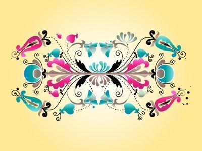 Floral Decorative Symmetrical Scrolls