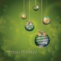 Olive Green Xmas Ornamental Holiday Card