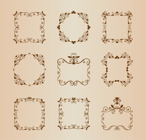 Vector Set of Vintage Ornamental Floral Border Frame