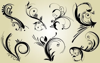 Swirly Black Ornaments Pack