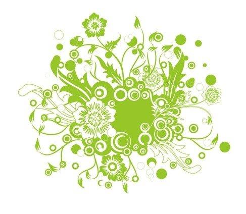 Green Floral Vector Illustration Art