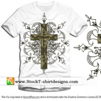 Free Vector Cross T-shirt Design with Floral Ornament