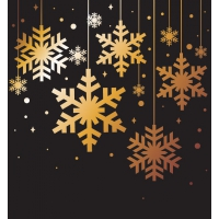 Golden Snowflakes Christmas Background Vector Elements