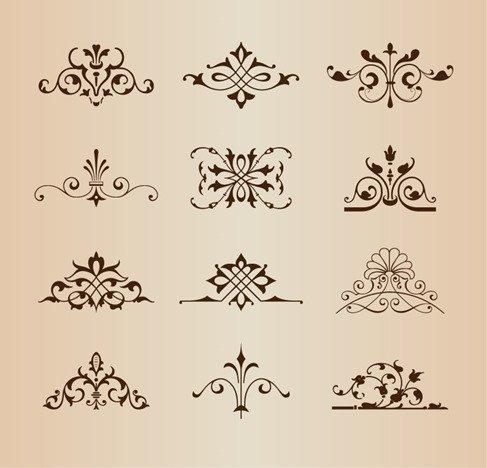 Set of Vintage Floral Ornament Elements