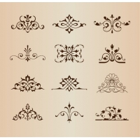 Set of Vintage Floral Ornament Elements