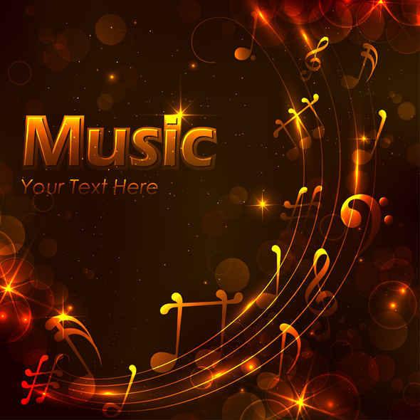 Free Golden Music Design Background