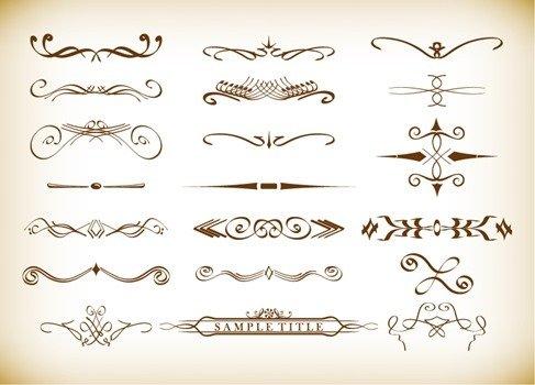 Calligraphic Decorative Elements in Vector Format
