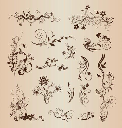 Retro Design Floral Decorative Elements Vector Set