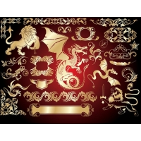 European Gold Design Elements Vector 3 Trend