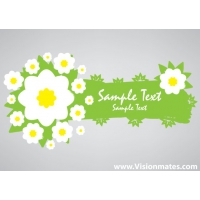 Green Eco Banner Vector With Flowers