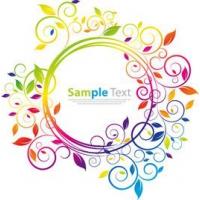 Simplistic Rainbow Floral Circular Frame