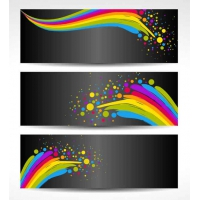 Colorful Banners with Black Background