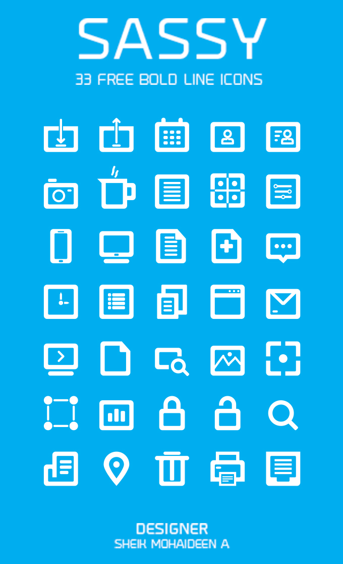 35 Free Bold Line Icons -