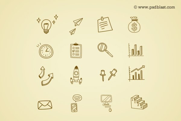 Hand Drawn Business Icon (PSD)