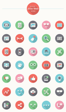 35 Flat Social Media Icons