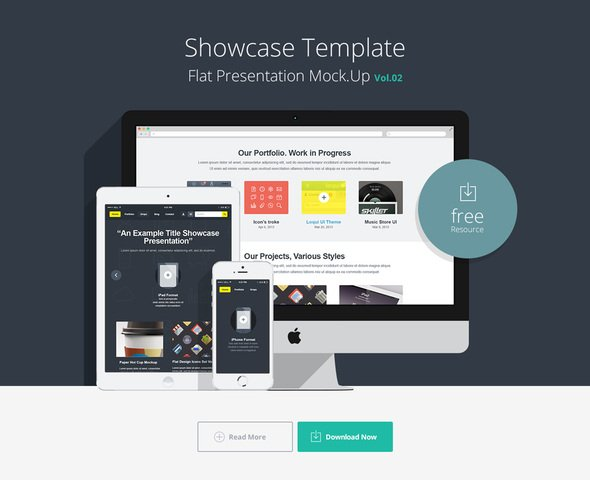 Flat Responsive Showcase Psd Vol2
