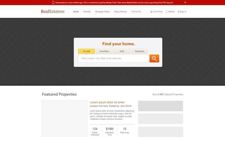 Real Estate Website Free PSD Tempate