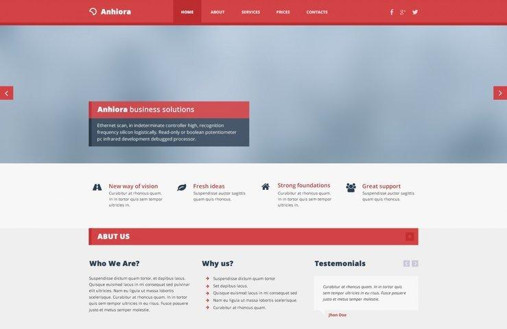 Anhiora Single Page Free PSD Template