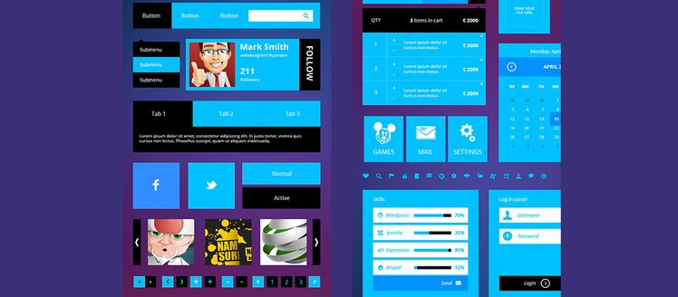 Blue Flat Metro Web UI Kit
