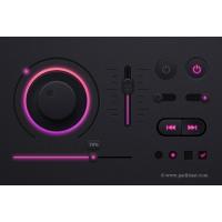 Music Player UI kit PSD, Dark Theme UI design