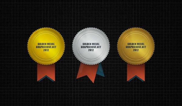 3 Psd Medals : Golden, Silver, Bronze