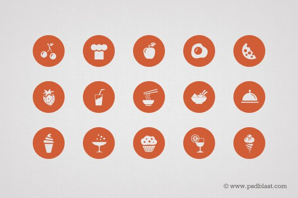 50 Food Icon Set (PSD)