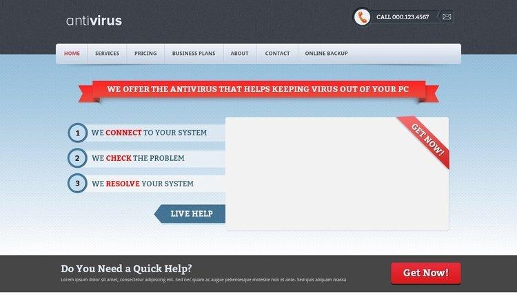 Antivirus Company Free PSD Template