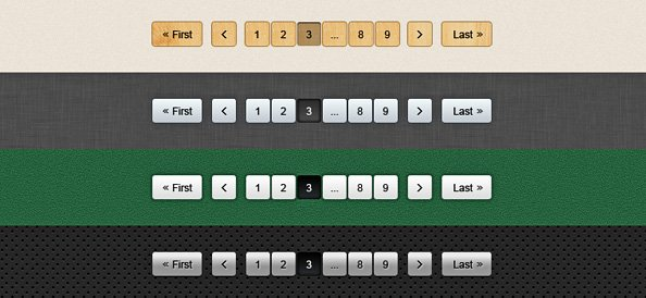 5 Pagination PSD Buttons