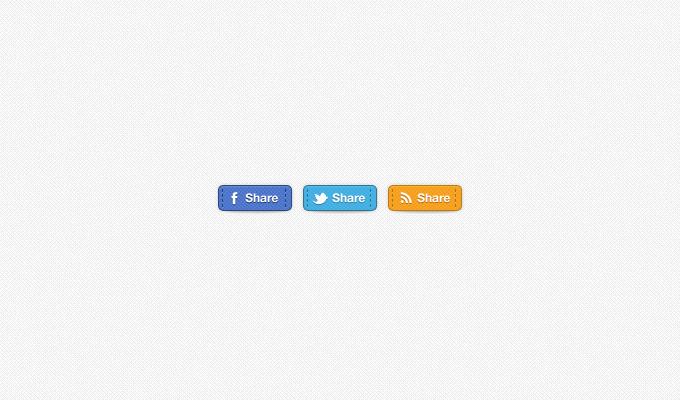 Hand Stitched Social Media Share Badges