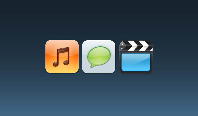 Music, Text, Videos iOS Icons