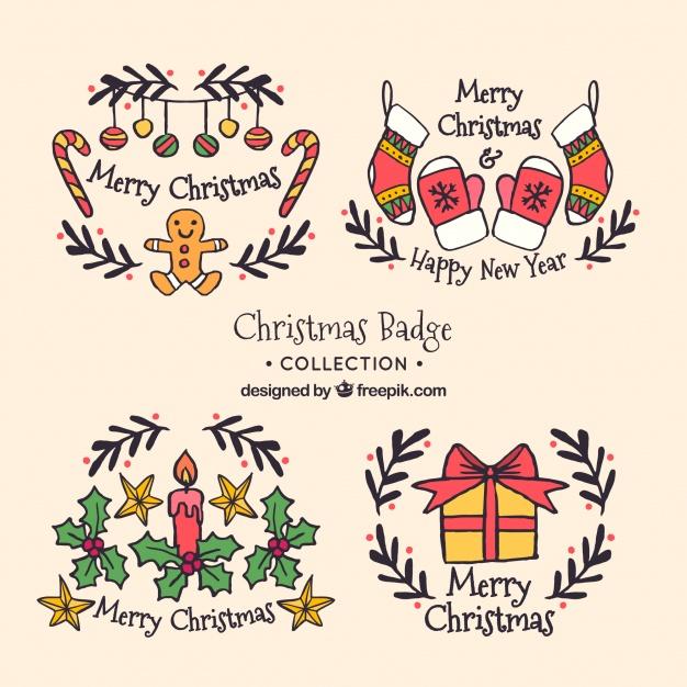 Set Of Nice Hand Drawn Christmas Stickers